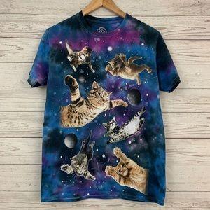 DOM Galaxy Space Cosmic Cats T Shirt Tie Dye
